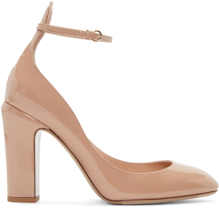 Valentino Beige Patent Tall Tan-go Mary Janes
