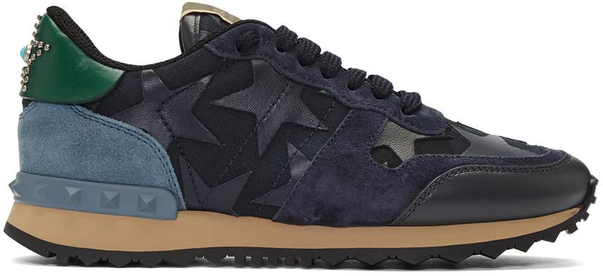 Valentino Navy Star Rockrunner Sneakers