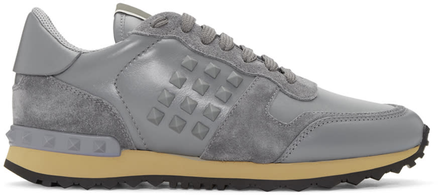 Valentino Grey Rockstud Sneakers
