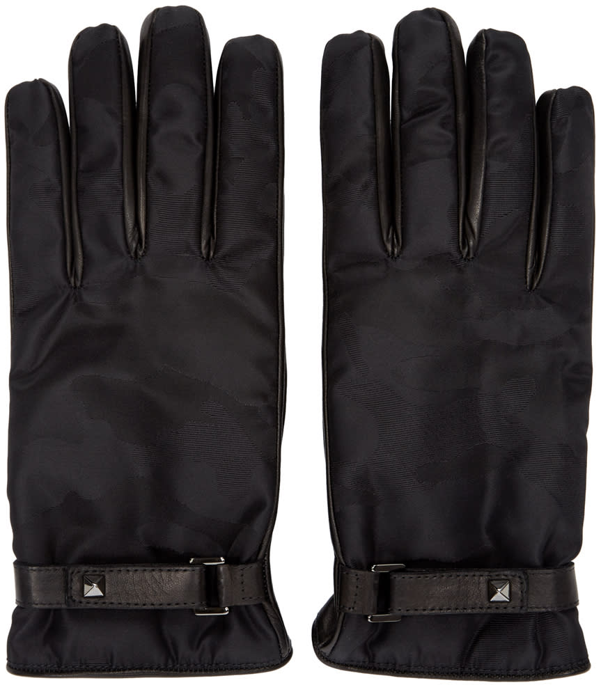 Valentino Black Nylon and Leather Camo Gloves