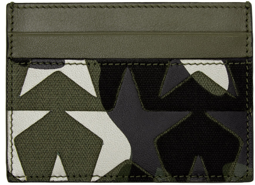 Valentino Green Camouflage Stars Card Holder
