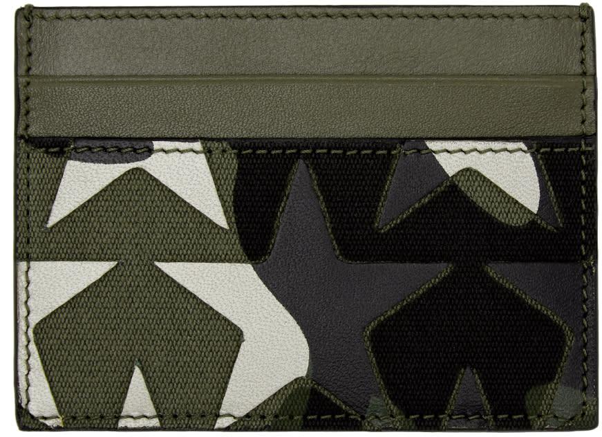 Valentino Green Camouflage Stars Card Holder
