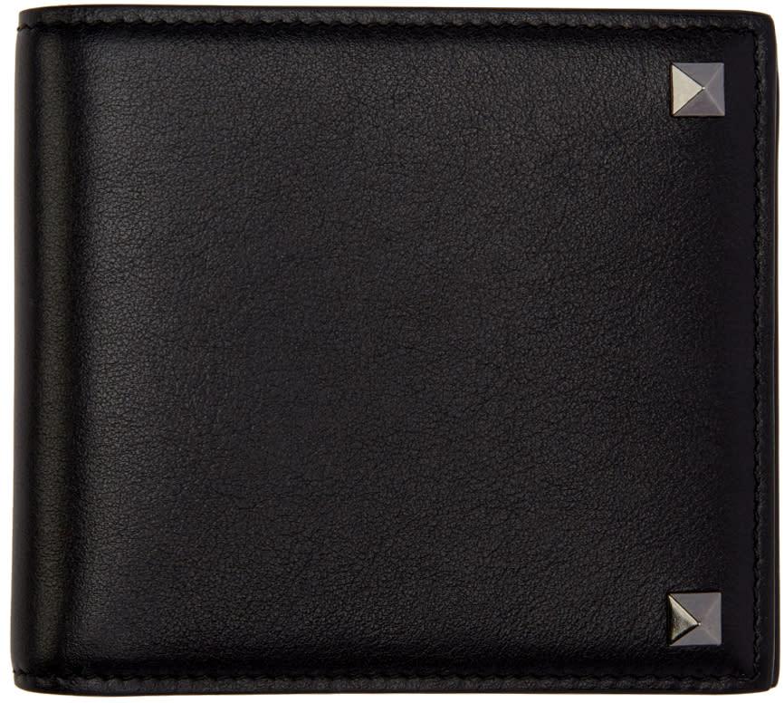 Valentino Black Leather Rockstud Bifold Wallet