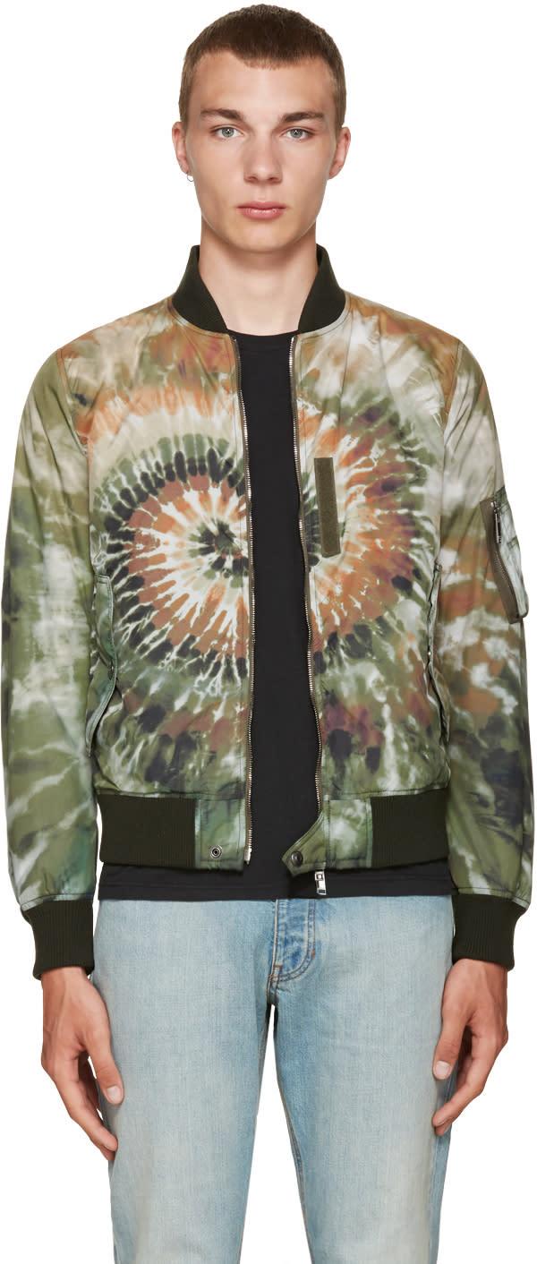 Valentino Green Tie Dye Bomber Jacket