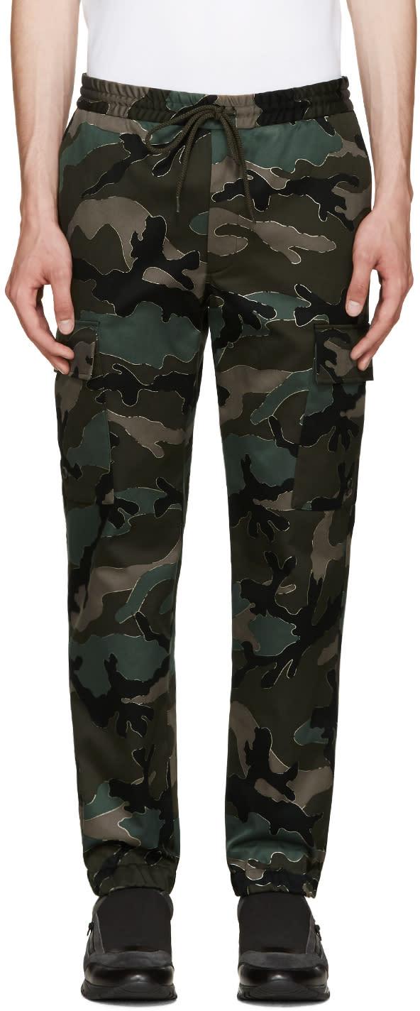 Valentino Green Camo Trousers