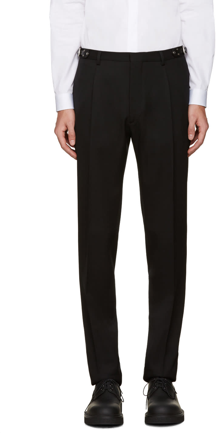 Valentino Black Wool Belted Trousers