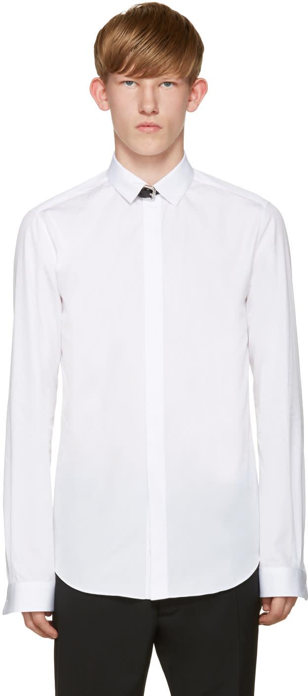 Valentino White Leather Strap Shirt