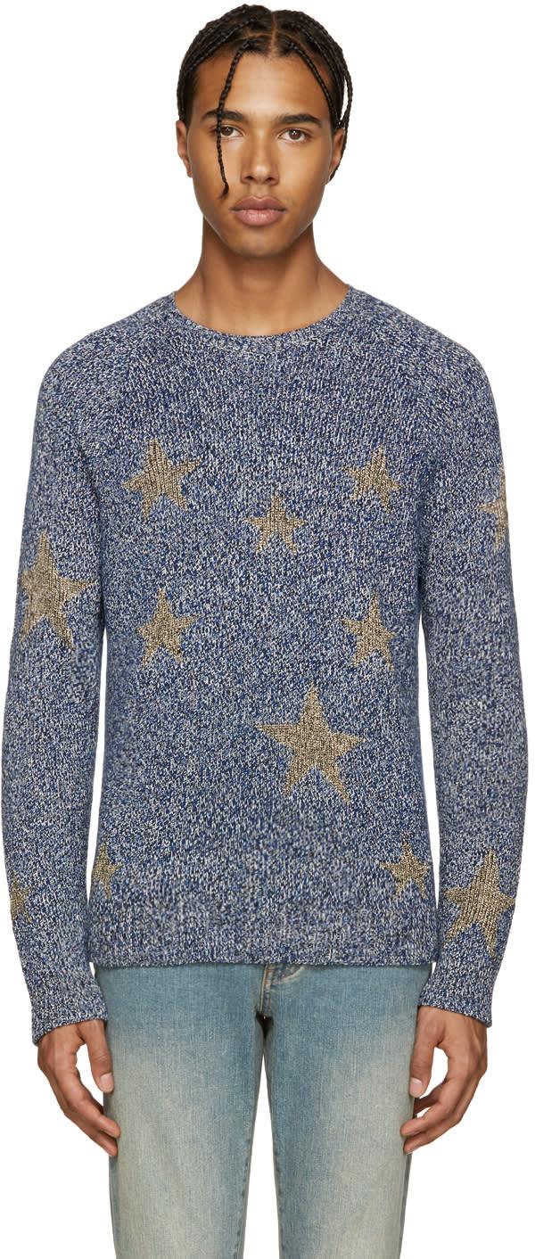 Valentino Navy and Gold Stars Sweater