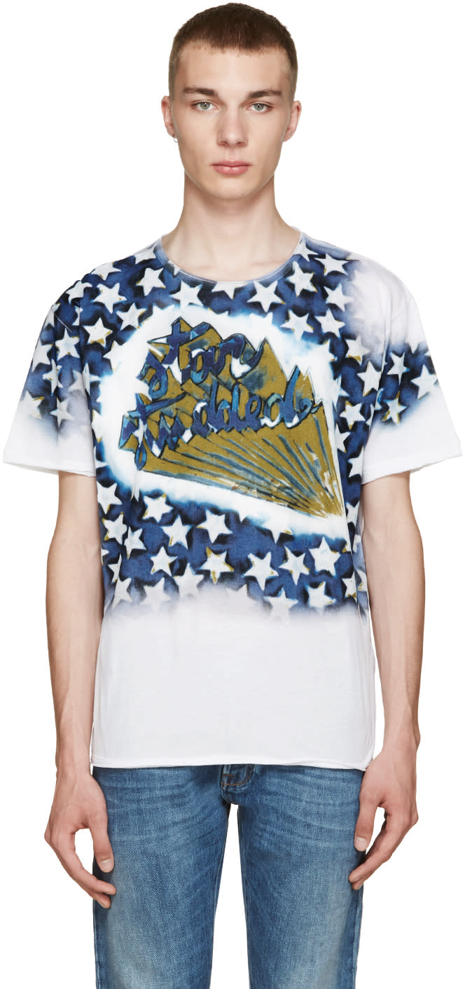 Valentino White and Blue star Studded T-shirt