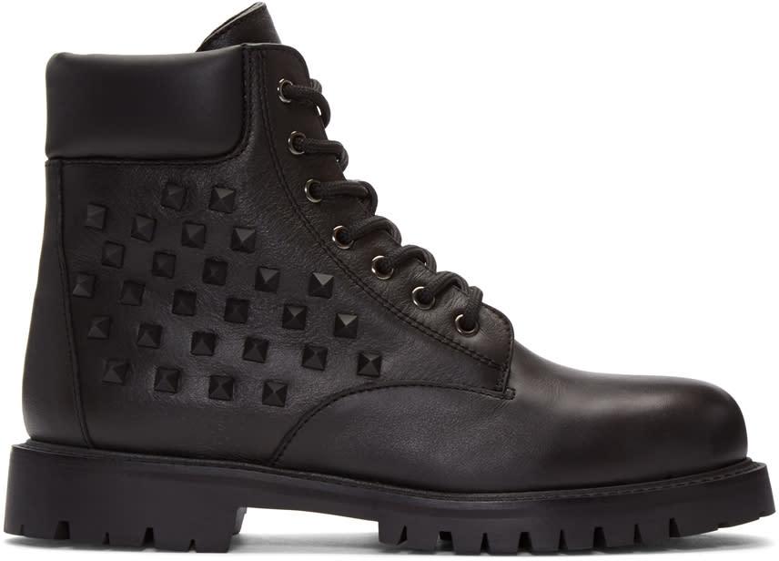 Valentino Black Rockstud Combat Boots