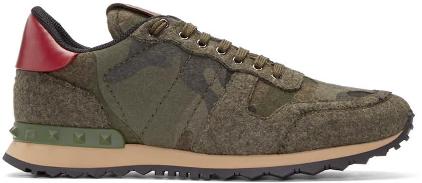 Valentino Green Felt Camo Sneakers