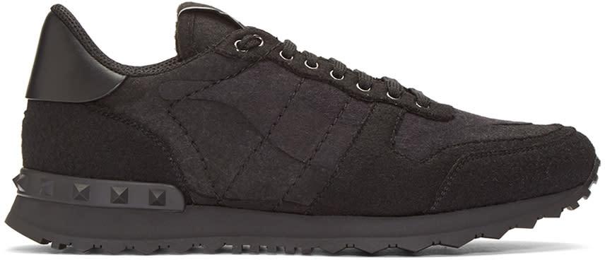 Valentino Black Felt Camo Rockrunner Sneakers