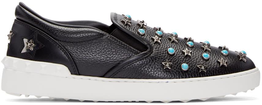Valentino Black Stone and Stars Slip-on Sneakers