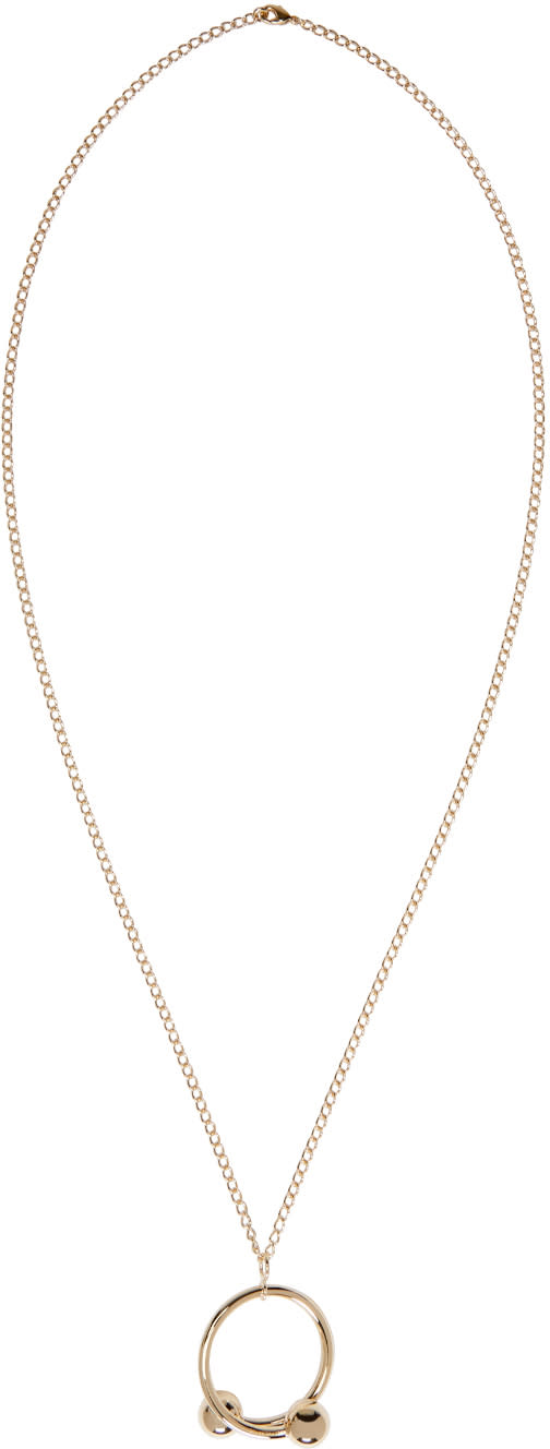 J.w. Anderson Gold Double Ball Pendant Necklace