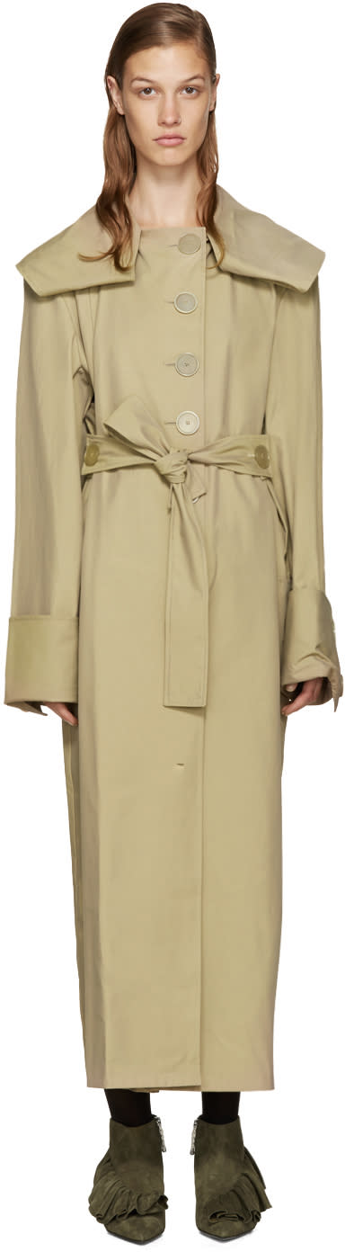 J.w. Anderson Tan Draped Trench Coat