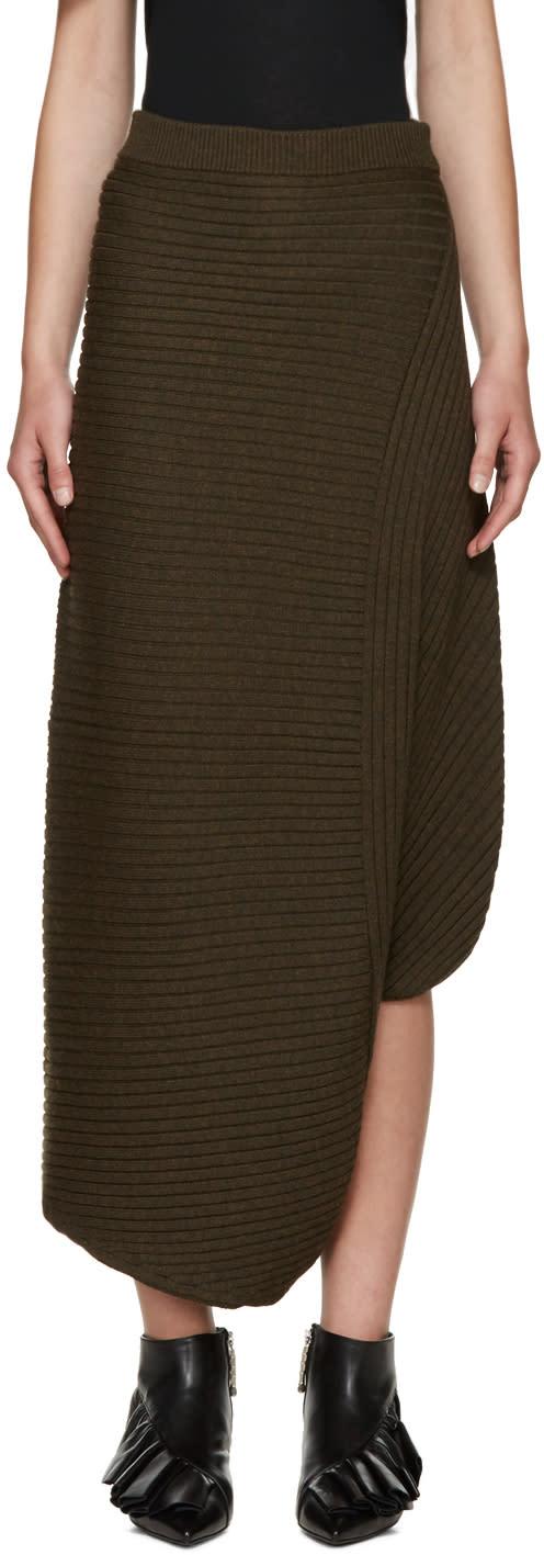 J.w. Anderson Green Merino Infinity Skirt