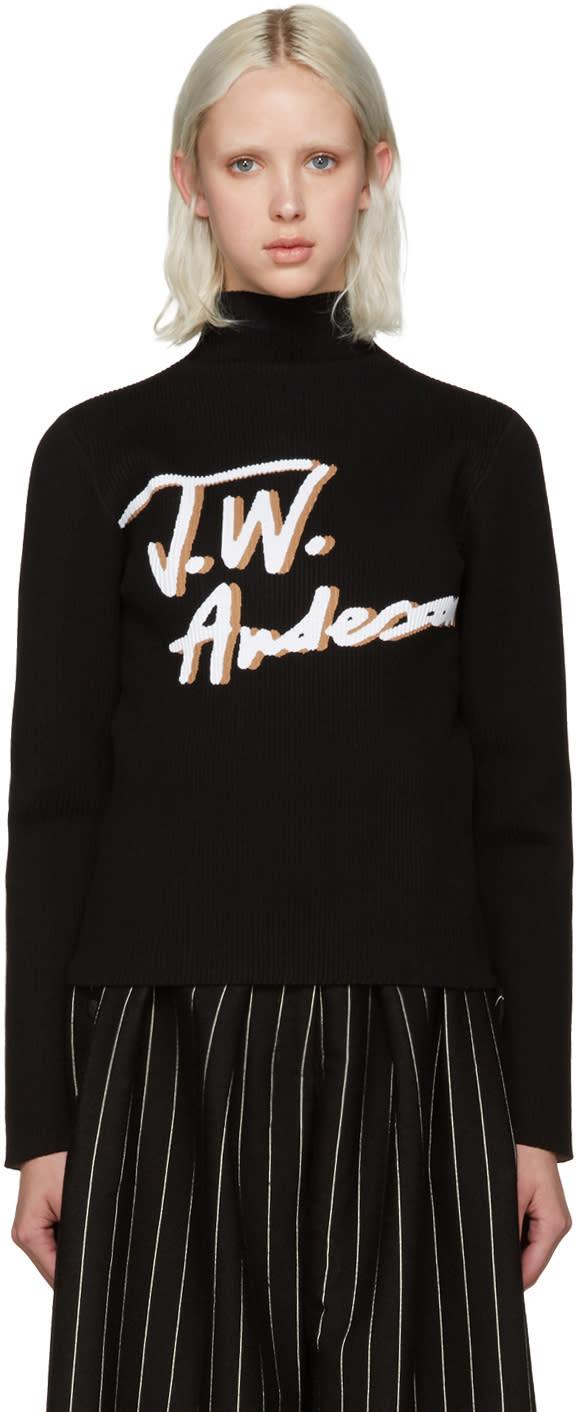 J.w. Anderson Black Pleated Logo Sweater