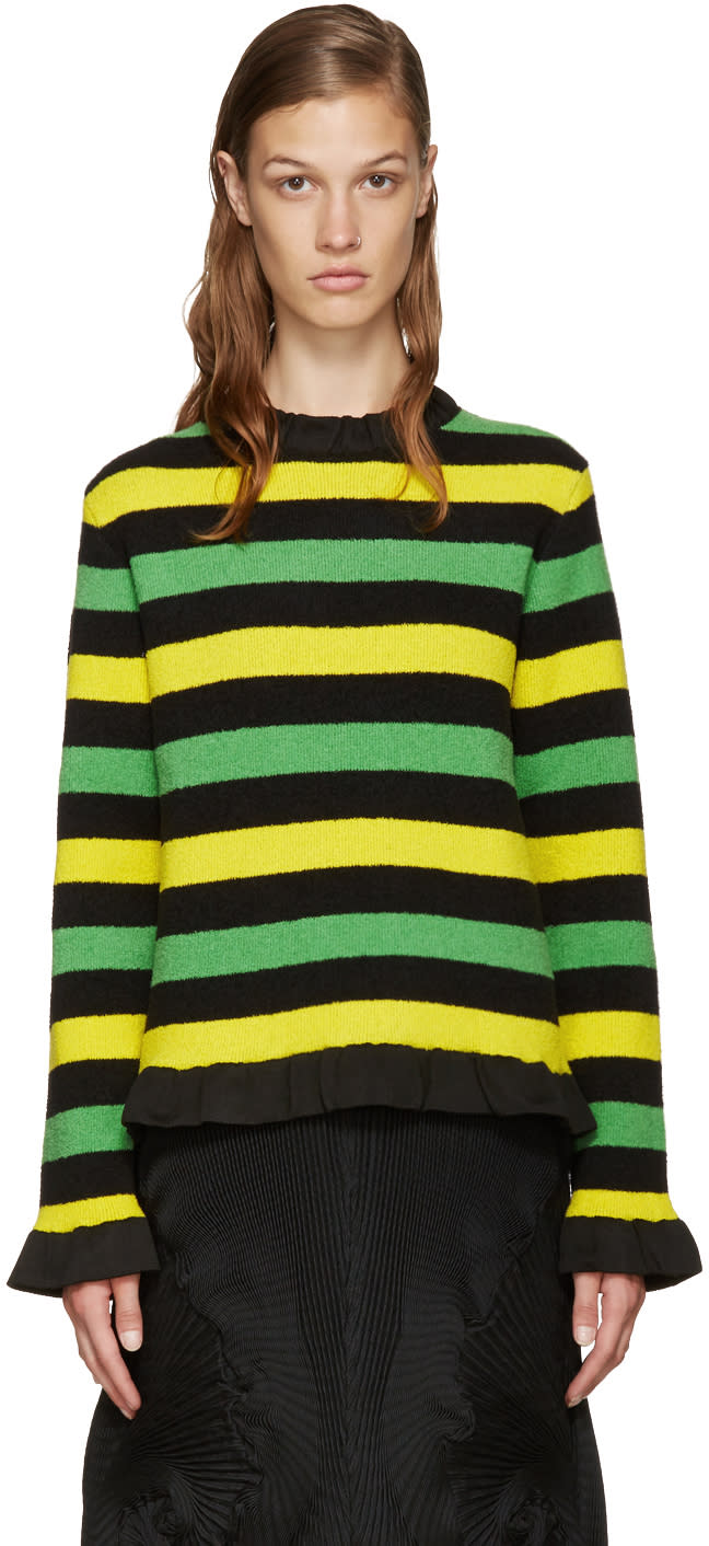 J.w. Anderson Tricolor Striped Boucle Sweater