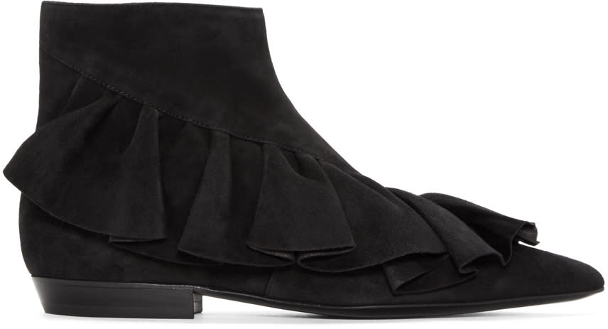 J.w.anderson Black Suede Ruffled Ankle Boots