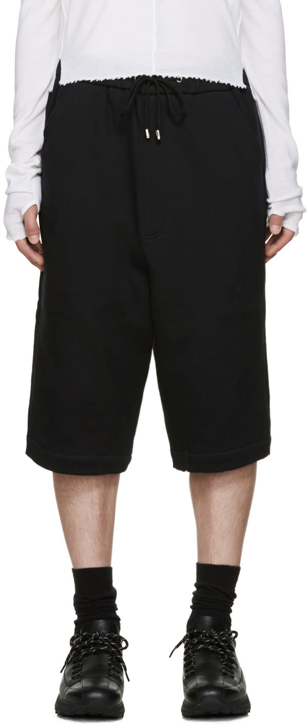 Thamanyah Black Cotton Lounge Shorts