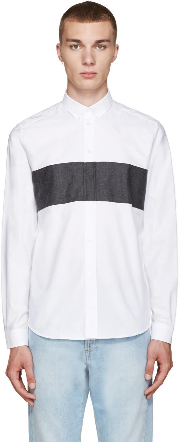 Ami Alexandre Mattiussi White and Grey Panelled Shirt