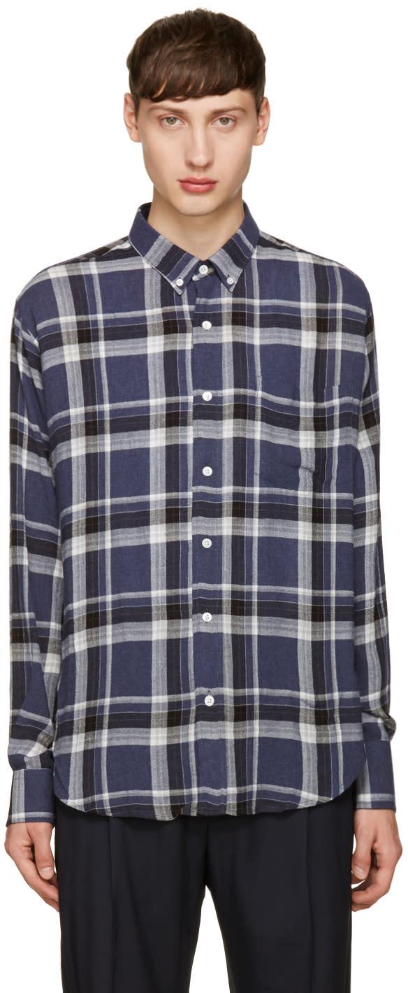 Ami Alexandre Mattiussi Navy Check Summer Shirt
