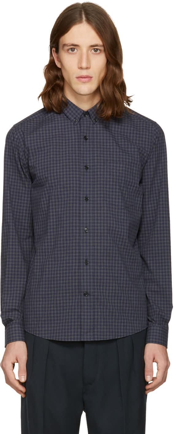 Ami Alexandre Mattiussi Grey and Navy Check Vichy Shirt