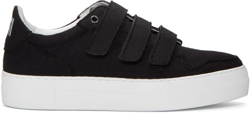 Ami Alexandre Mattiussi Black Felted Velcro Sneakers