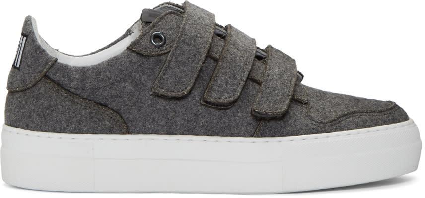 Ami Alexandre Mattiussi Grey Felted Velcro Sneakers
