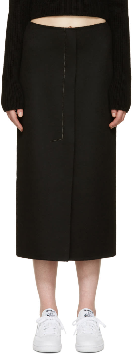 Image of Calvin Klein Collection Black Cashmere Haokin Skirt