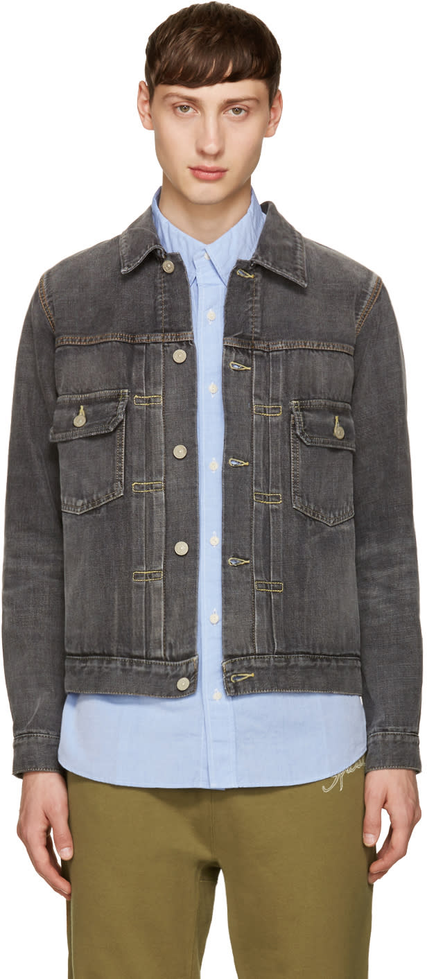 Visvim Grey Denim Damaged Jacket