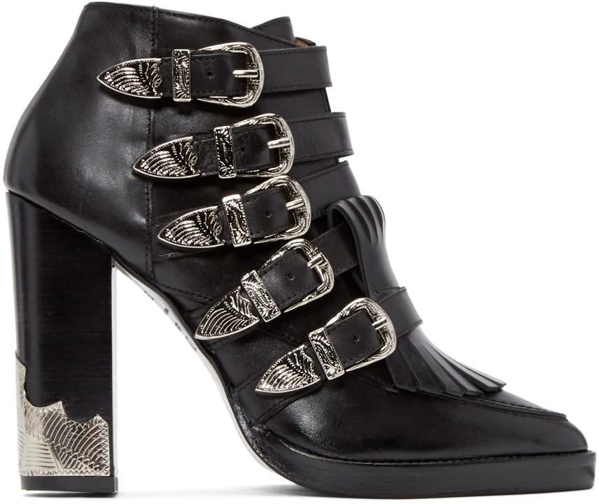 Toga Pulla Black Heeled Western Buckle Boots