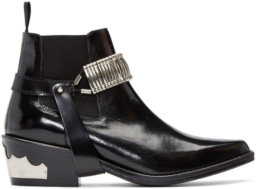 Toga Pulla Black Strap Chelsea Boots