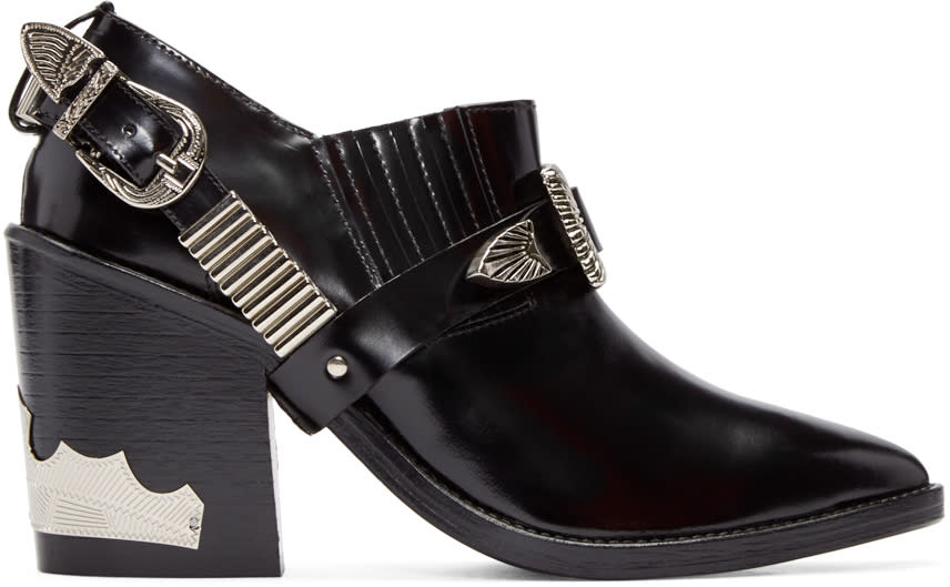 Toga Pulla Black Western Strap Boots