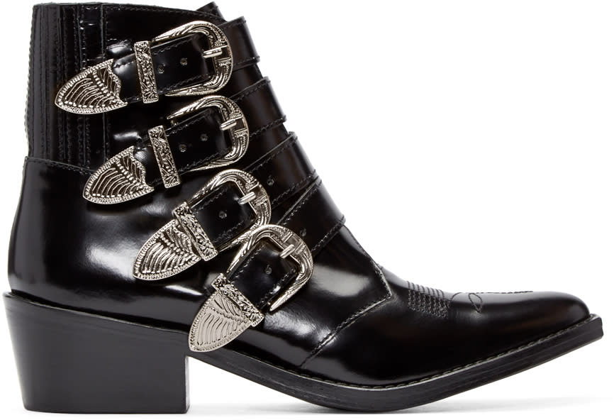 Toga Pulla Black Western Buckle Boots