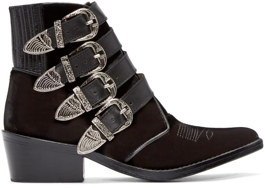 Toga Pulla Black Velvet Western Buckle Boots