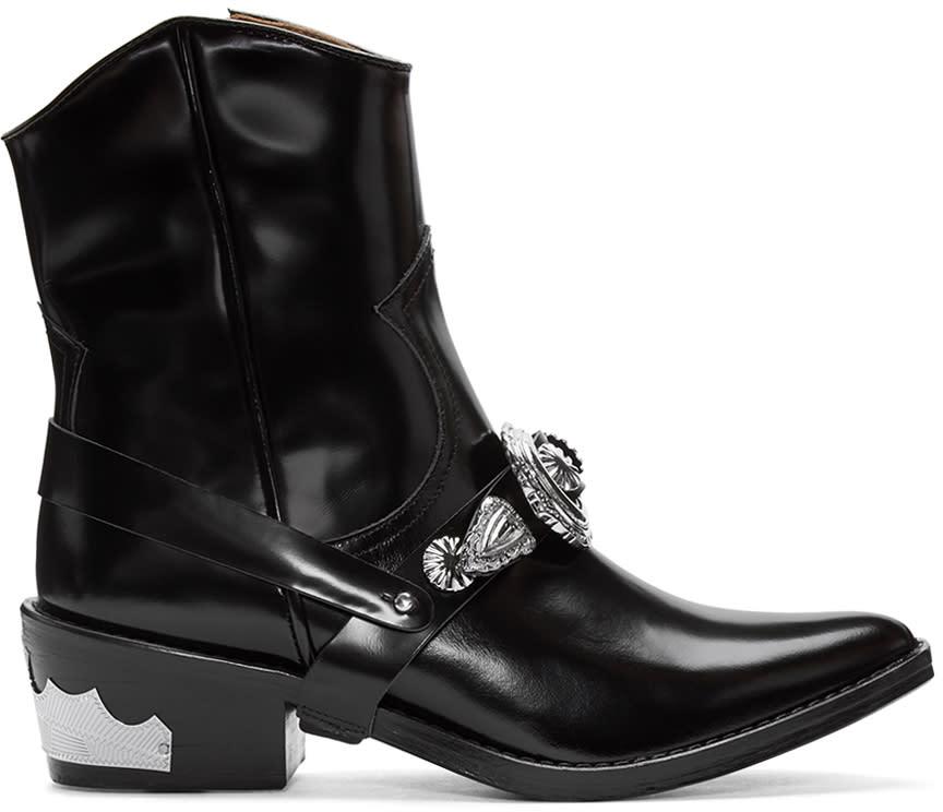Toga Pulla Black Western Details Boots