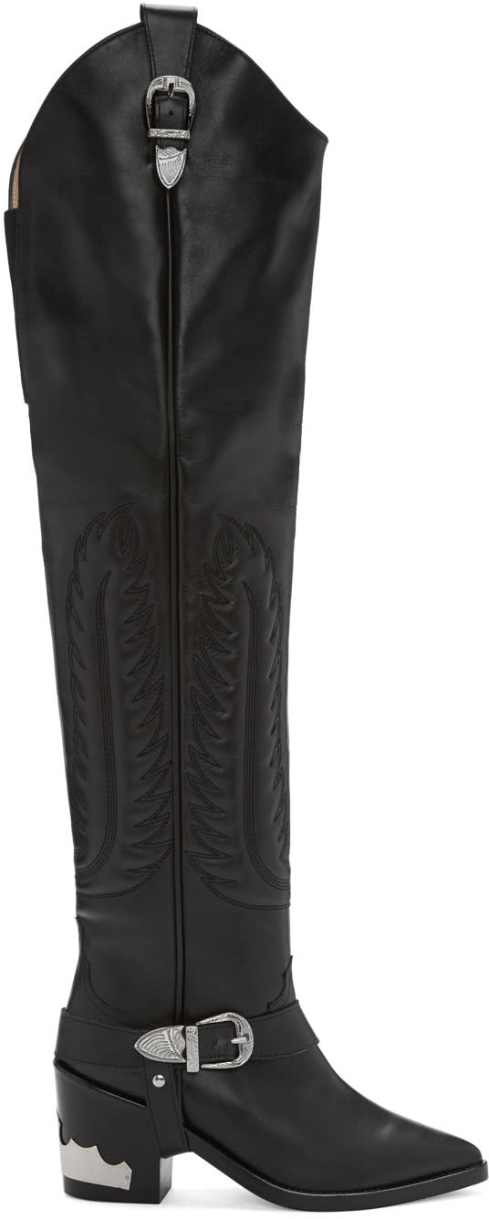 Toga Pulla Black Western Over-the-knee Boots