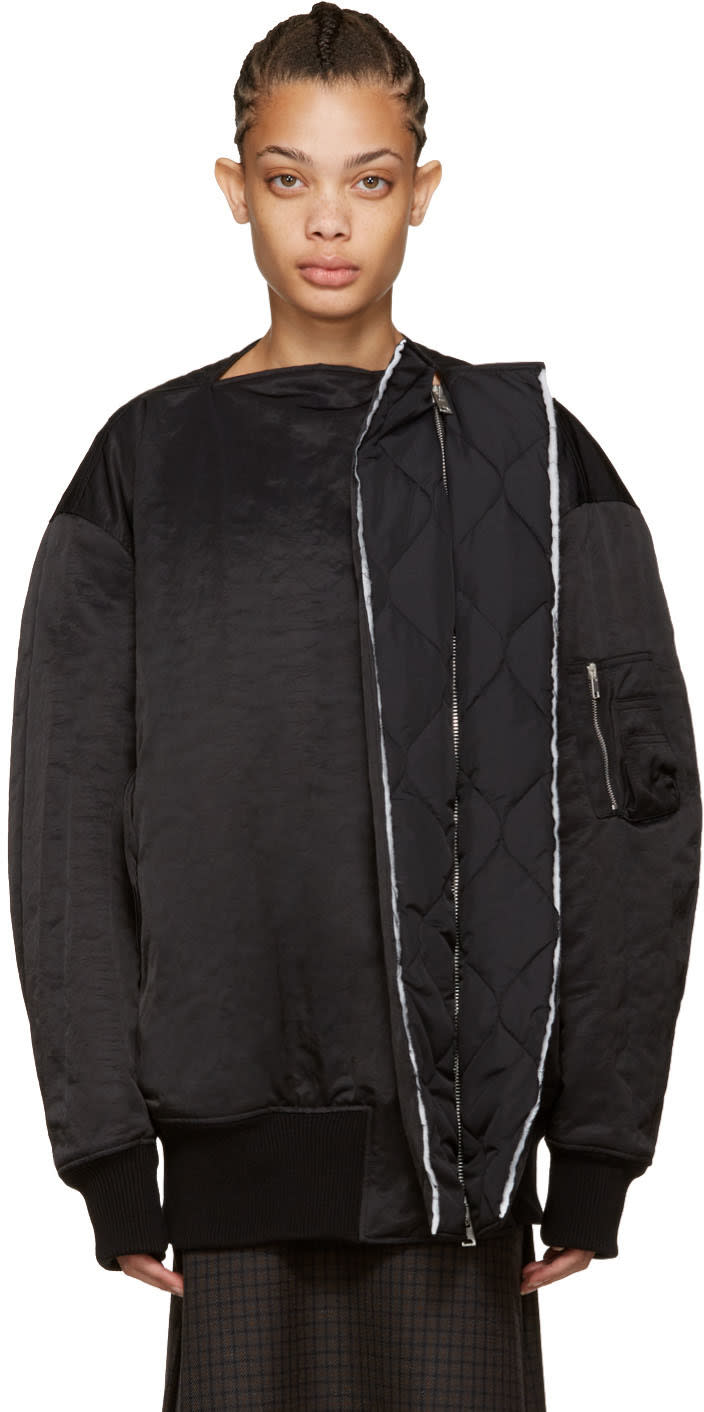 Yang Li Black Show Oyster Bomber Jacket