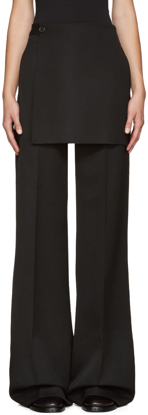 Yang Li Black Wide-leg Apron Trousers