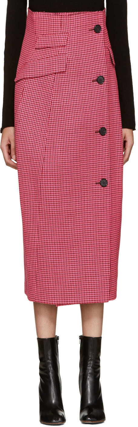 Yang Li Pink Houndstooth Coat Skirt