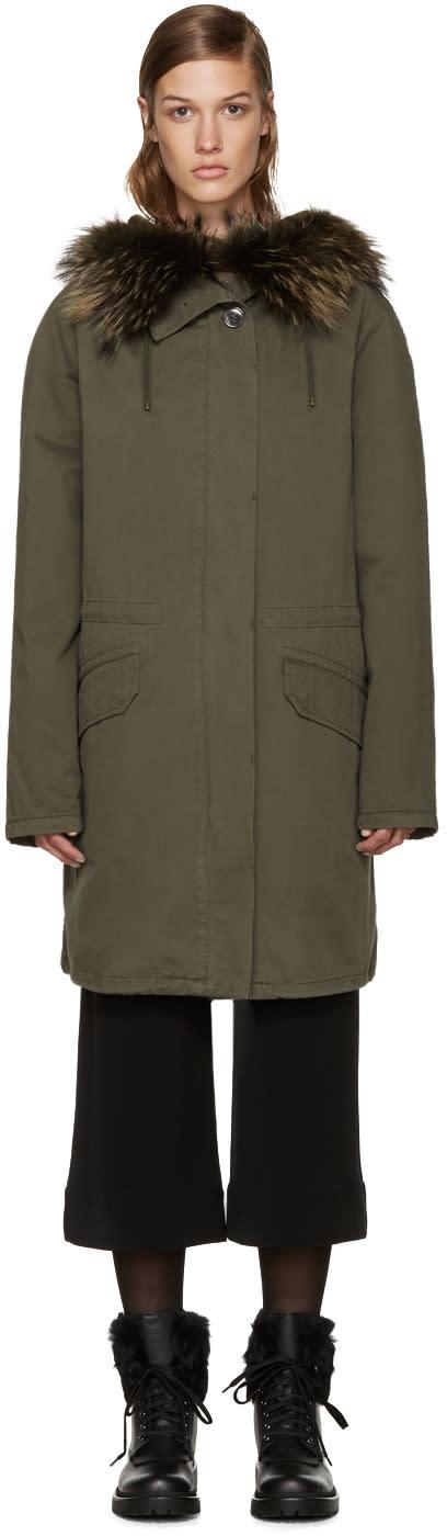 Army By Yves Salomon Green Treillis Coat