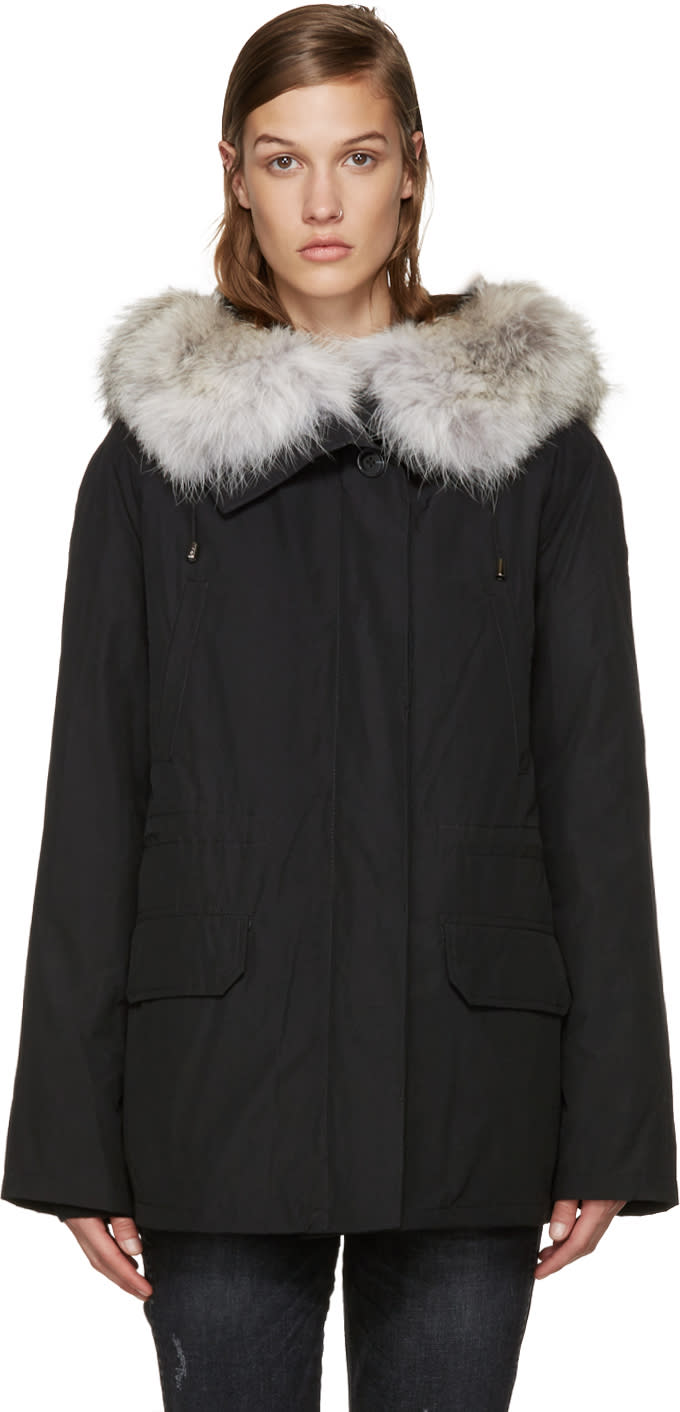 Army By Yves Salomon Black Fur-lined Classic Parka