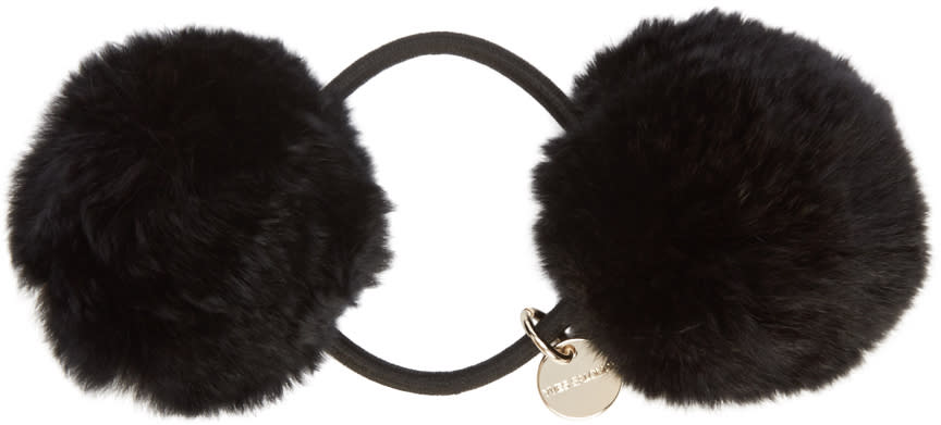 Yves Salomon Black Fur Pom Pom Hair Tie