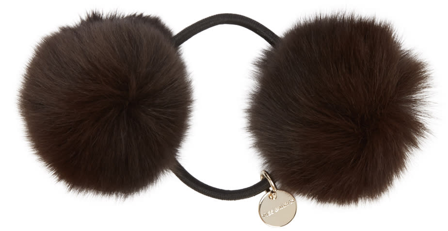 Yves Salomon Brown Fur Pom Pom Hair Tie