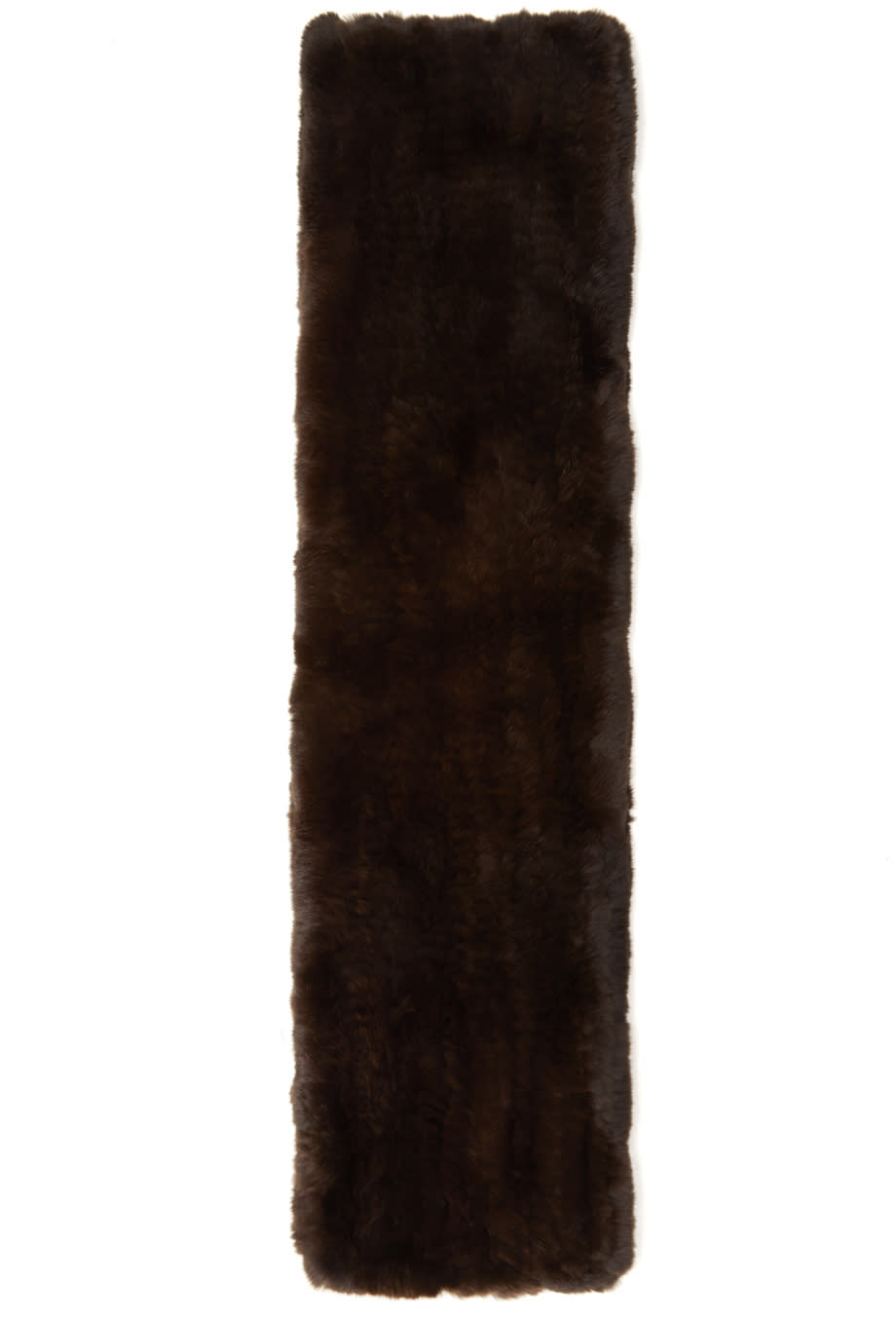 Yves Salomon Brown Knit Fur Scarf