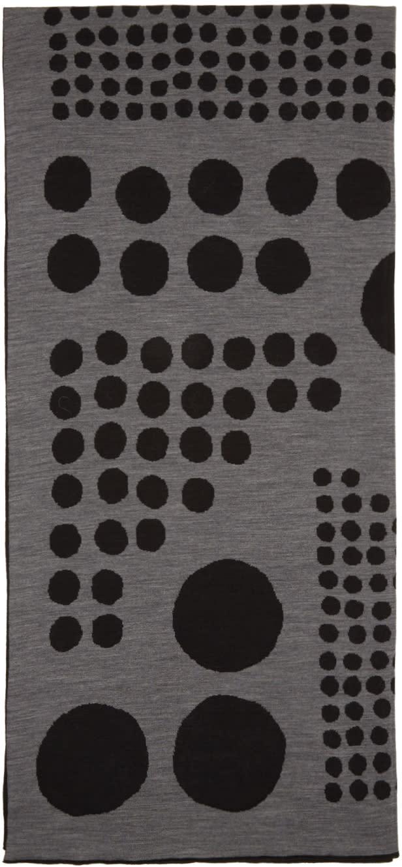 Kolor Black and Grey Jacquard Graphic Scarf