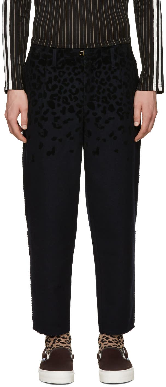 Kolor Navy Textured Mix Trousers