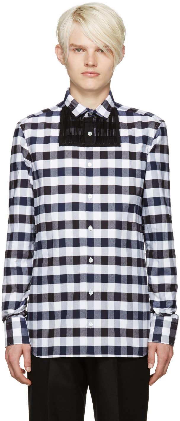 Kolor Navy and Black Check Shirt