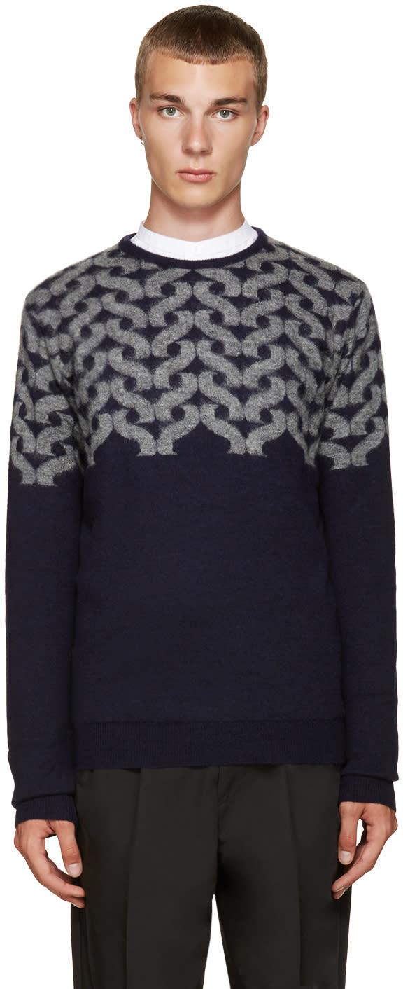 Kolor Blue Wool Block Sweater